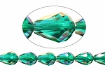 Teardrop Crystal Beads, 9x6mm EMERALD AB