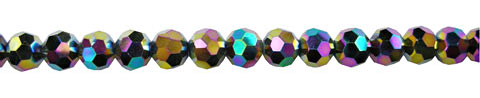 Crystal Beads, 8mm Round MULTI METALLIC VOLCANO