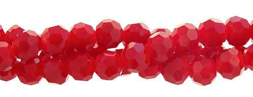 Crystal Beads, 3mm Round RED Opaque