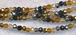 Crystal Beads, 3mm Round Gold, Topaz, Hematite, Silver MIx