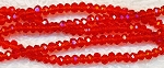 3mm Rondelle Crystal Beads, RED