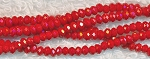 Crystal Beads, 3mm Rondelle RED