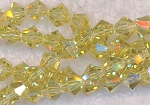 Crystal Beads, 6mm Bicone LIGHT YELLOW CITRINE AB