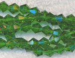 Crystal Beads, 6mm Bicone KELLY GREEN
