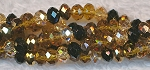 4mm Rondelle Crystal Beads Copper, Black, Topaz Designer Mix