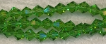 Crystal Beads, 6mm Bicone GREEN