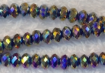 4mm Metallic Volcano Crystal Rondelle Beads