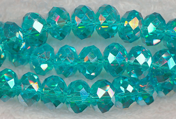 Crystal Beads, 10mm Rondelle BLUE TOPAZ AB