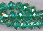Crystal Beads, 12mm Rondelle EMERALD AB