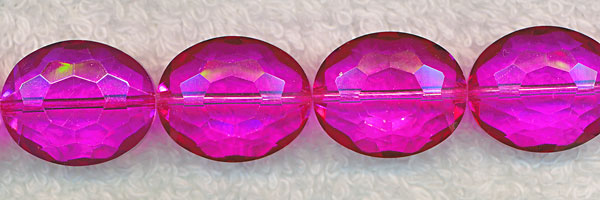 Oval Crystal Beads, HOT PINK Fuchsia 20x16mm