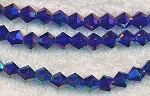 6mm Dark Sapphire AB Crystal Bicone Beadseads