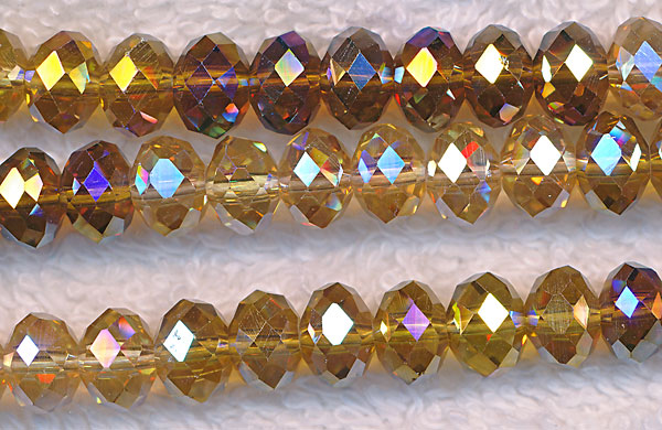 Crystal Beads, 8mm Rondelle CITRINE and TOPAZ Mix