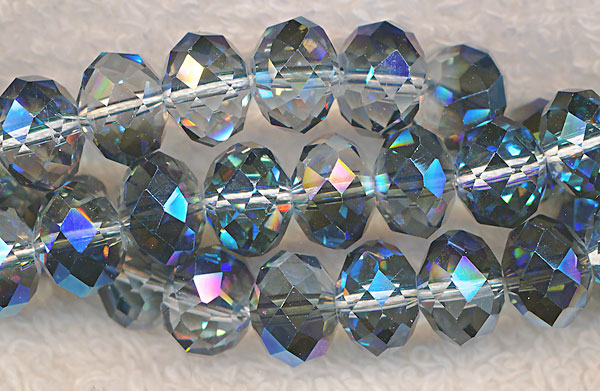 Crystal Beads, 10mm Rondelle MYSTIC TOPAZ