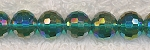 Crystal Beads, 10mm Round GREEN TEAL AB Disco Ball Cut