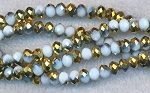 Crystal Beads, 6mm Rondelle WHITE with GOLD