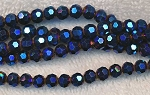 6mm Round Crystal Beads BLUE PURPLE Fire Metallic