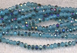 4mm Rondelle Crystal Beads TURQUOISE Metallic BLUE
