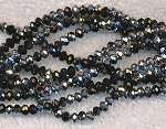 Crystal Beads, 4mm Rondelle BLACK METALLIC SILVER