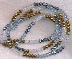 Crystal Beads, 4mm Rondelle Crystal, Metallic Silver, Metallic Gold, and Silver Shade