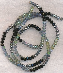 Crystal Beads, 4mm Rondelle Indian Sapphire Blue Coat, Teal Coat, Metallic Silver, and Jet Black