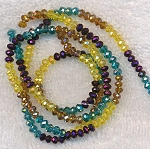 4mm Rondelle Crystal Beads Topaz, Citrine Yellow, Metallic Purple, Blue Topaz Designer Mix