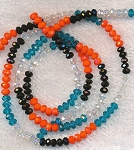 Crystal Beads, 4mm Rondelle Aquamarine Blue, Crystal, Jet Black, and Orange