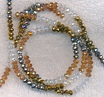 Crystal Beads, 4mm Rondelle Crystal, Metallic Gold, Topaz and Metallic Silver