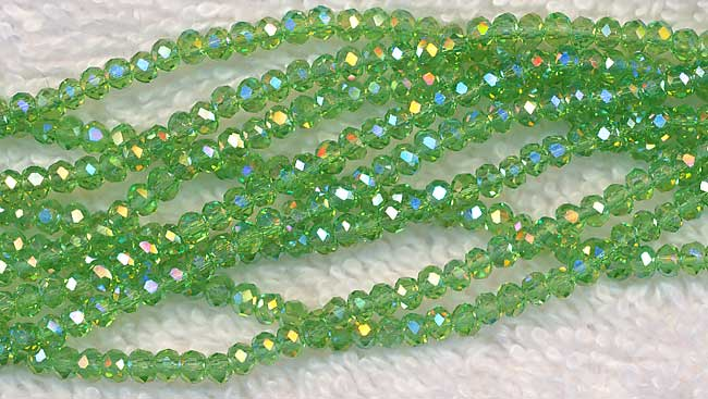 3mm Round Crystal Beads PERIDOT AB