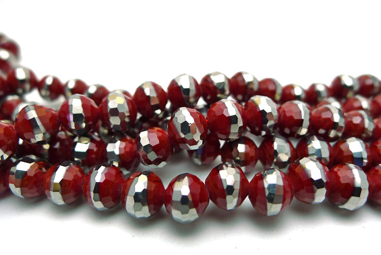 Crystal Beads, 8mm Round RED with SILVER BAND Disco Ball Cut