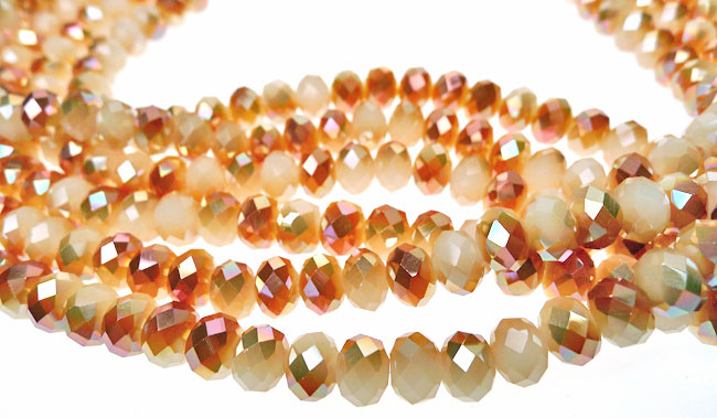 Crystal Beads, 8mm Rondelle Gilded PEACH