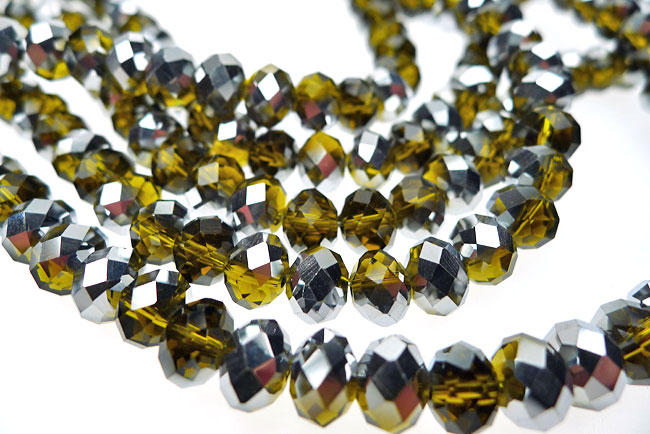 Crystal Beads, 8mm Rondelle OLIVINE with SILVER