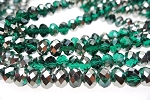 Crystal Beads, 8mm Rondelle EMERALD with SILVER