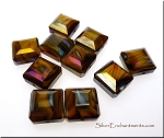 13mm Faceted Tablet Brown Tiger Eye Swirl AB Crystal Beads