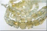 Crystal Beads, 4mm Cube SEA OPAL with Golden Lustre