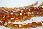 Crystal Beads, 6mm Cube DESERT GLOW SIENNA