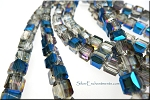 Crystal Beads, 6mm Cube COBALT Half-Coat