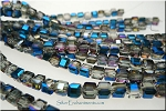 Crystal Beads, 4mm Cube COBALT PURPLE Shimmer