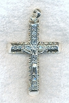 Crystal Crucifix Necklace, Crystal Studded Large Bailed Crucifix Pendant