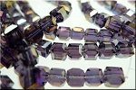 4mm Crystal Cube Beads PURPLE AB
