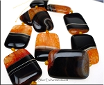 Agate Bead Pendants, Orange Rectangle 35x24mm