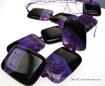 Agate Bead Pendants, Purple Rectangle 40x30mm