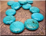 Turquoise Bead Pendants, Coin 35mm Stabilized