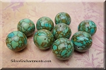 Mosaic Turquoise Focal Bead, 18mm Round Turtle Turquoise