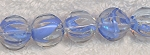 Glass Beads, 12mm Round Clear with Blue Accents