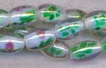 Glass Beads, Olive Fancy White Core with Floral Motif