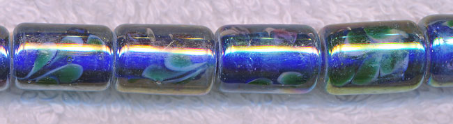 Glass Beads, Tube Blue Core with Floral Motif