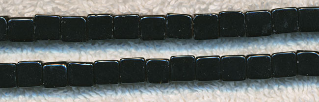 Glass Beads, Cube BLACK 6mm