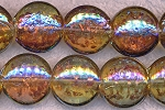 Glass Beads, Coin TOPAZ AB AB Gold-flecked 20mm