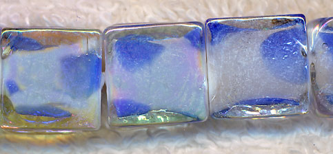 Glass Beads, Square White and Blue 12mm Chicklet