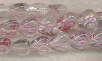 Glass Beads, Awareness Ribbon Heart Lampworked Pink